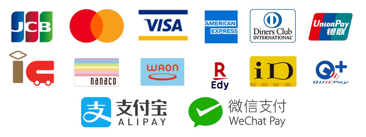 Alipay、Wechat、UnionPay(銀聯)